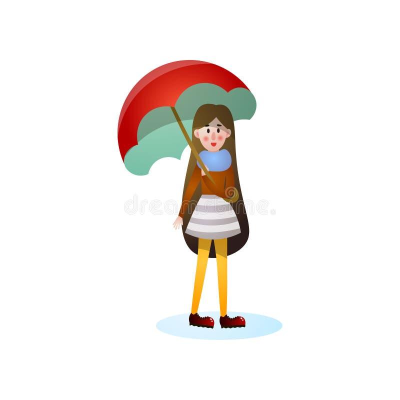 Menina de sorriso do cabelo longo que anda sob a chuva ilustração do vetor