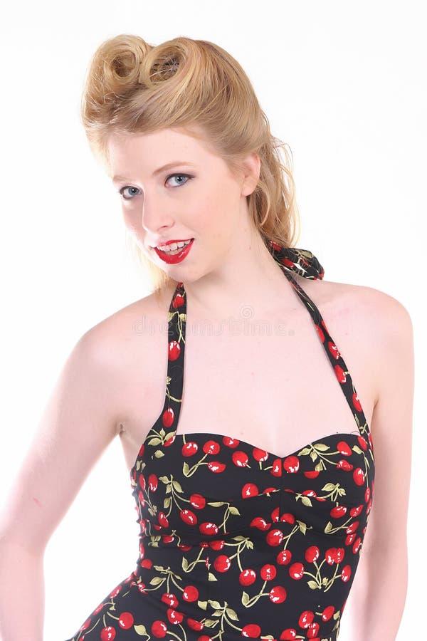 Menina de sorriso do Pinup fotografia de stock