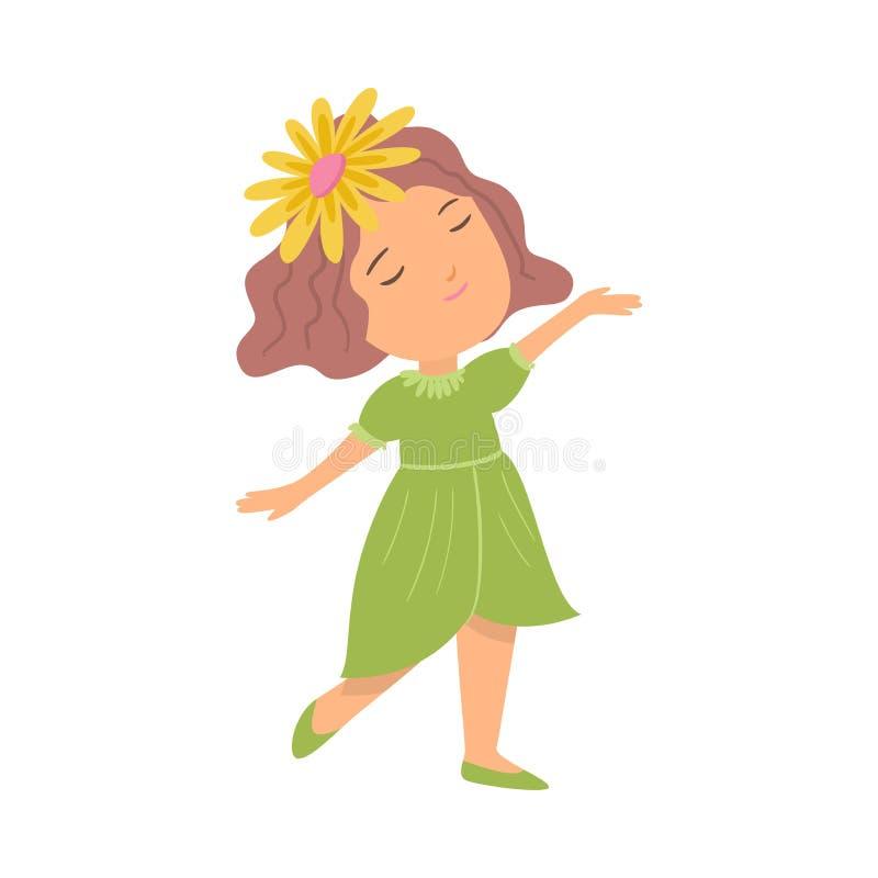Menina de sorriso feliz bonito no vestido verde e na flor amarela ilustração royalty free
