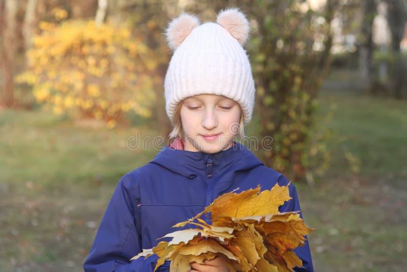 A menina de sorriso feliz da criança em um chapéu feito malha morno recolhe o ramalhete das folhas amarelas Outono no parque imagem de stock royalty free