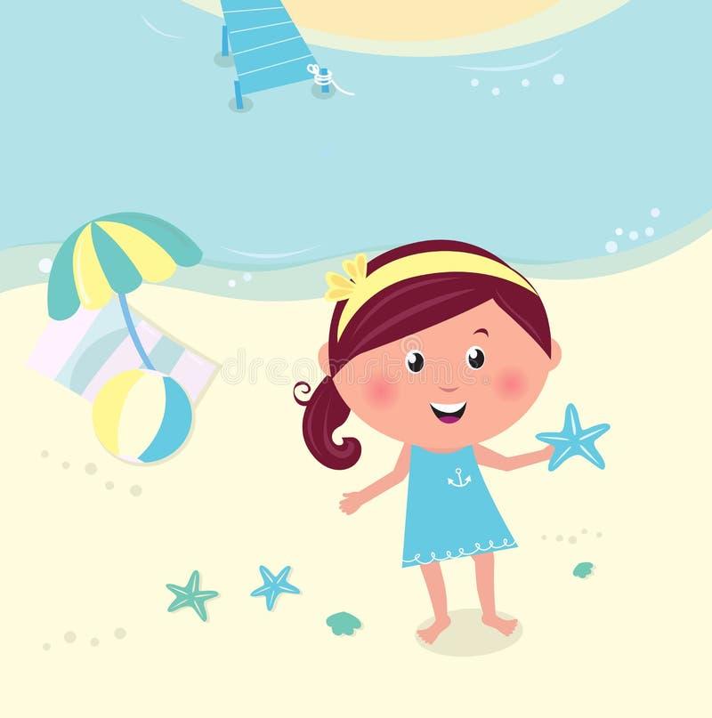 Menina de sorriso feliz na estrela de mar da terra arrendada da praia ilustração stock