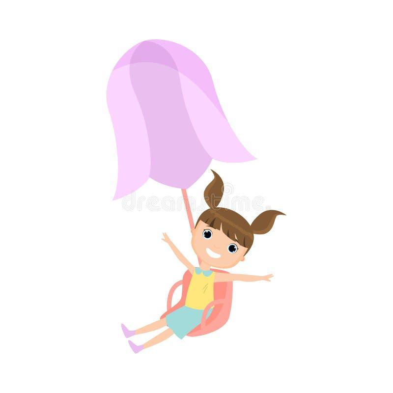 A menina de sorriso feliz na roupa colorida monta no carrossel ilustração do vetor