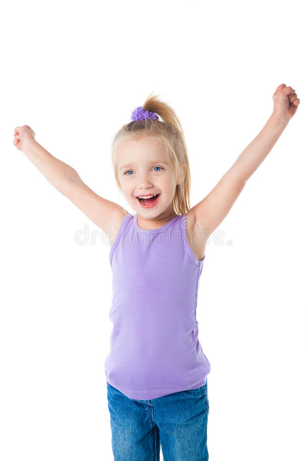 Menina de sorriso feliz no t-shirt roxo imagens de stock