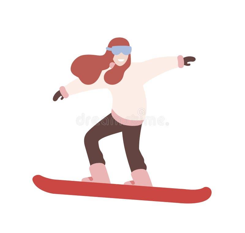 Menina de sorriso na snowboarding do snowsuit Snowboarder fêmea que executa o truque Esportes extremos do inverno e atividade ext ilustração do vetor