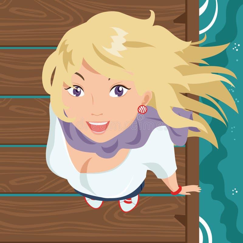 Download Menina de sorriso no cais ilustração do vetor. Ilustração de scarf - 10056975