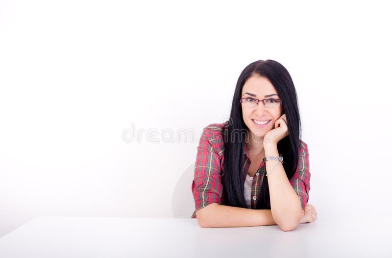 Menina de sorriso no fundo branco fotos de stock royalty free