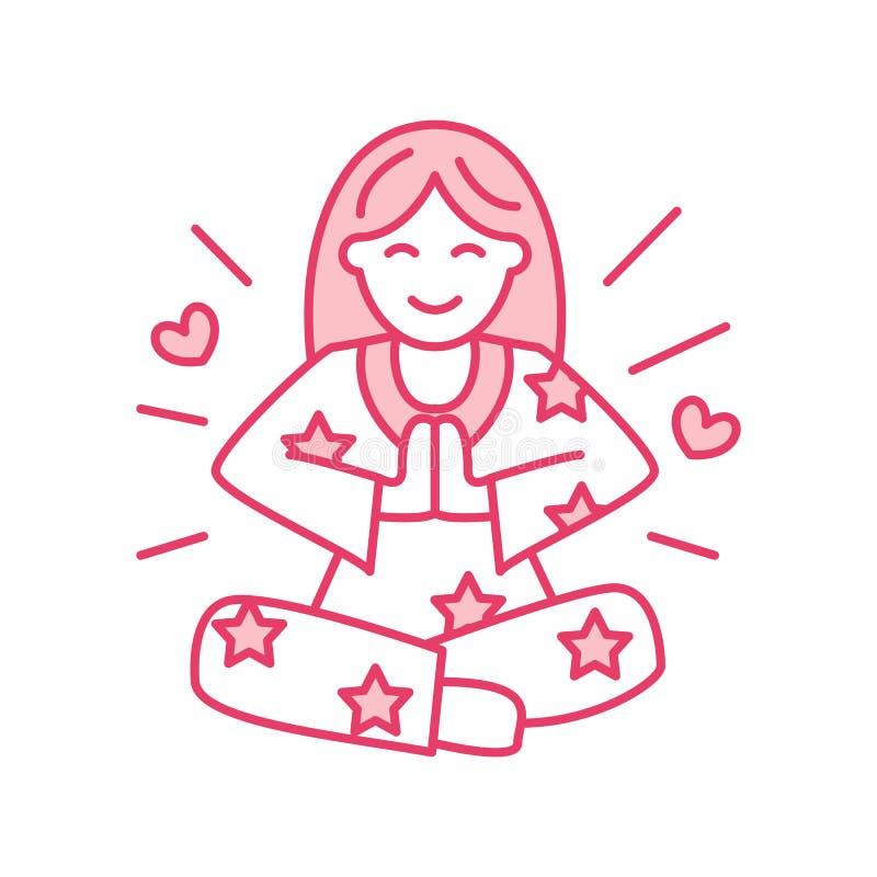 Menina de sorriso no padmasana, linha logotipo da ioga Ícone da meditação da mulher ilustração stock