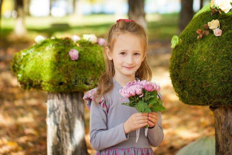 Menina de sorriso no parque do outono imagens de stock royalty free