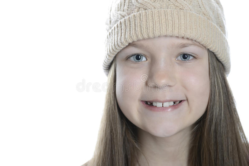 Menina de sorriso no tampão fotografia de stock royalty free