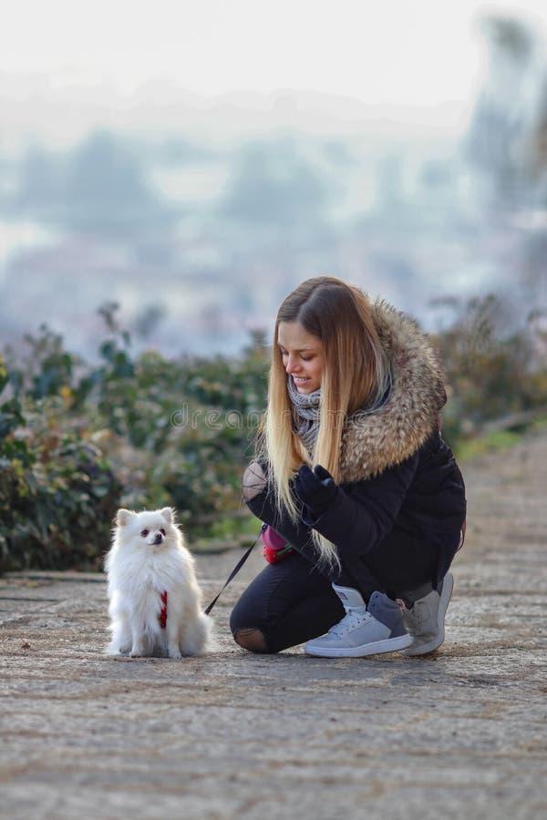 A menina de sorriso nova bonita dá uma volta com o cão branco pequeno Spitz alemão do anão pomeranian imagem de stock