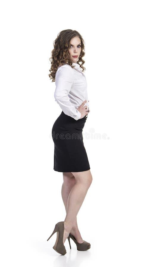 Menina de sorriso nova O estilo do negócio foto de stock
