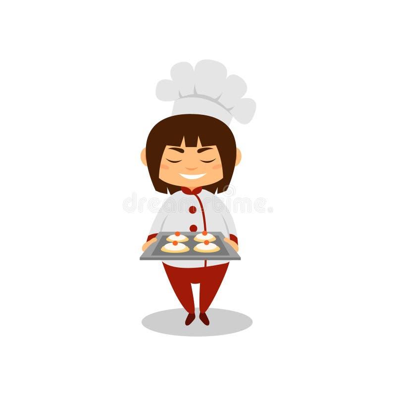 Menina de sorriso que guarda a bandeja com sobremesas doces Criança no uniforme do cozinheiro chefe com chapéu Personagem de band ilustração royalty free