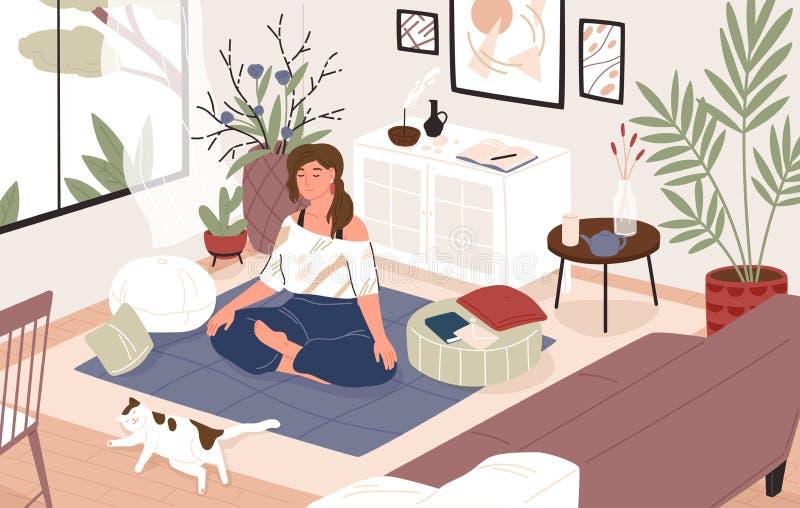 Menina de sorriso que senta-se de pernas cruzadas em seu sala ou apartamento, ioga praticando e apreciação da meditação Jovem mul ilustração do vetor