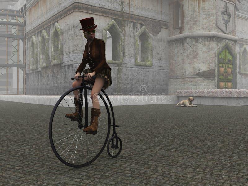 Menina de Steampunk na bicicleta do farthing da moeda de um centavo na rua cobbled ilustração do vetor
