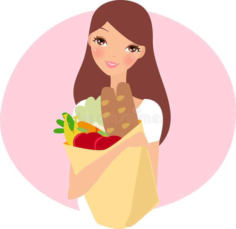 Menina de Supermarkdet ilustração royalty free