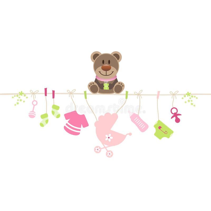 Menina de suspensão dos ícones do bebê de Teddy Sitting On String With ilustração do vetor