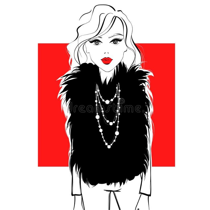 Menina de tampa Menina elegante com bordos vermelhos ilustração royalty free