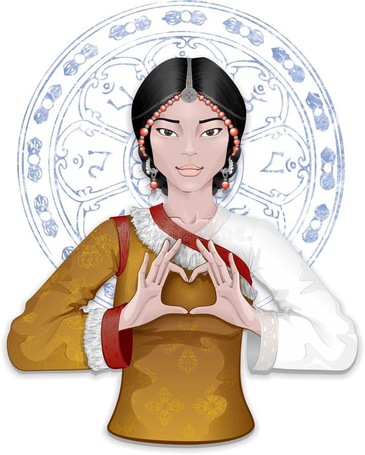 Menina de Tibetian que mostra o coração pelos dedos ilustração royalty free