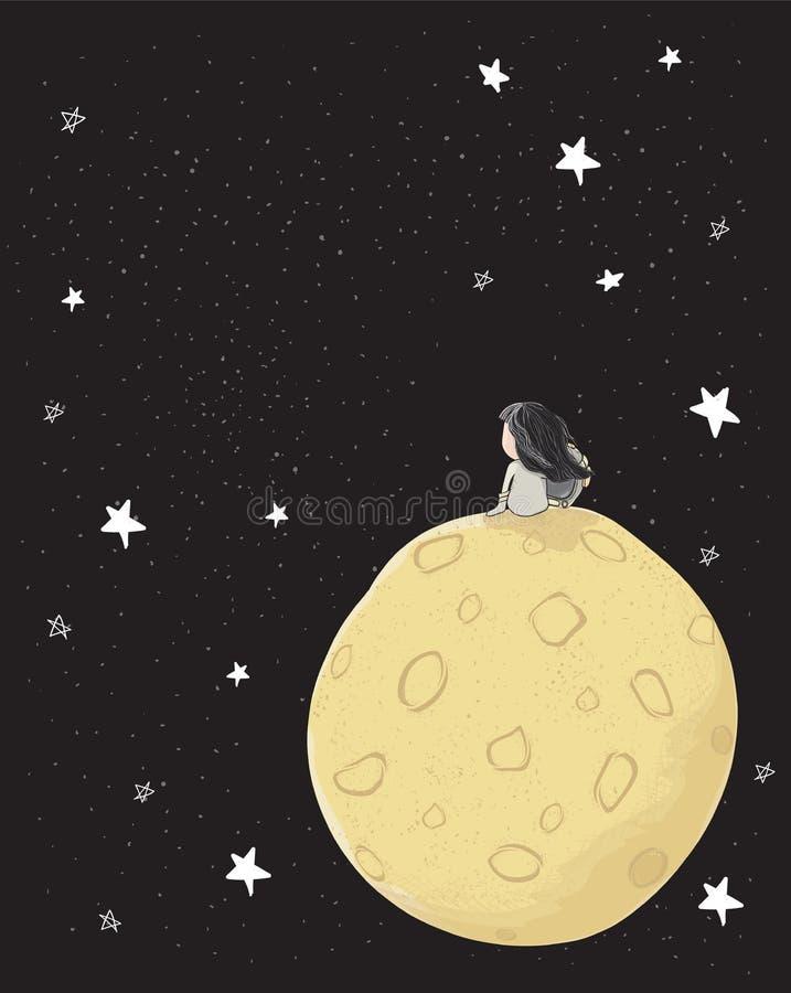Menina de tiragem bonito do astronauta que senta-se apenas na lua grande no espaço com estrelas, espaço da galáxia da cópia, idei ilustração royalty free
