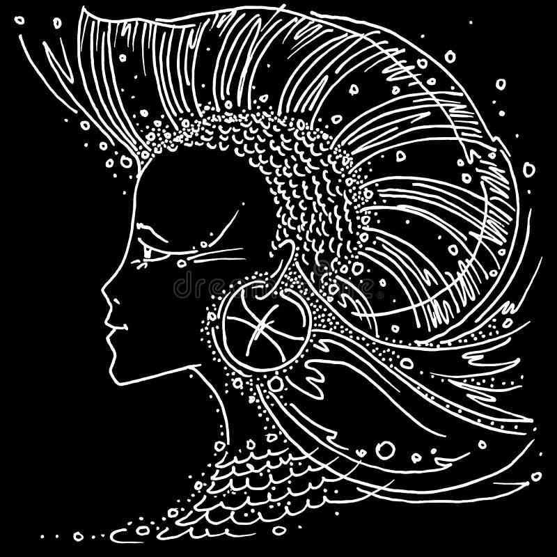Menina de tiragem preto e branco dos Peixes do sinal do zodíaco com cabelo como um peixe da aleta Iroquois ilustração stock