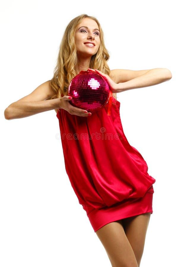 A menina de um disco uma esfera fotografia de stock royalty free