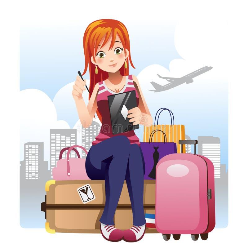 Menina de viagem ilustração royalty free