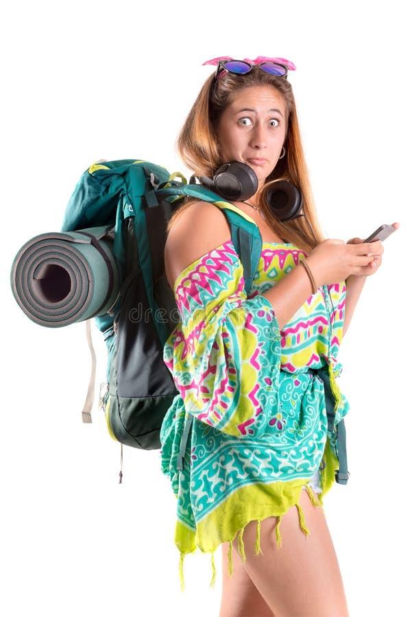 Menina de viagem com trouxa imagens de stock