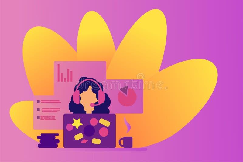 Menina de Webinar nos auriculares Consultante da Web e assistente da Web Fala no Internet Ensino à distância Apoio em linha opera ilustração royalty free