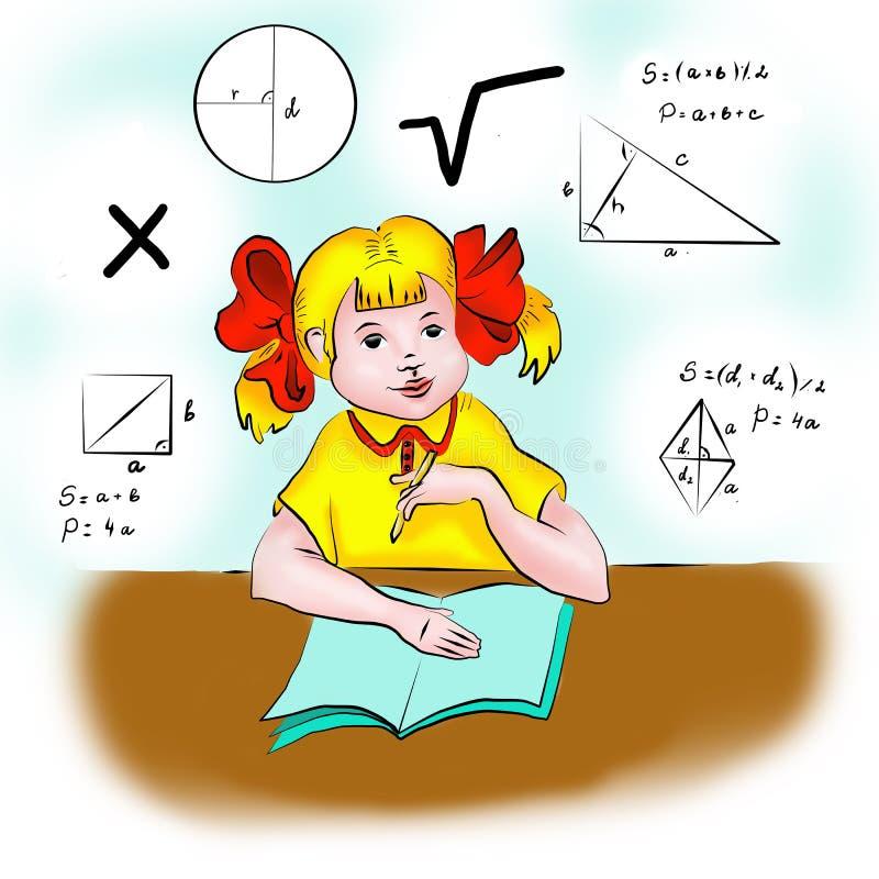 A menina decide a matemática ilustração do vetor