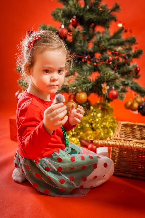 Download A Menina Decora A árvore De Natal Imagem de Stock - Imagem de feriado, esfera: 80100695