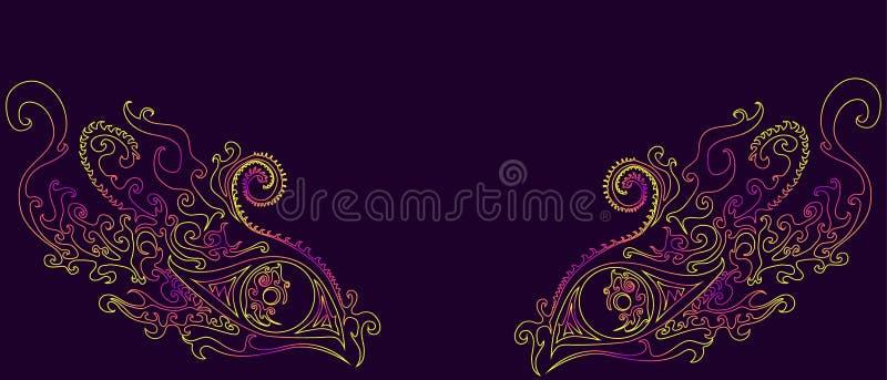 A menina decorativa, surreal, abstrata, shamanic eyes, teste padrão étnico, psicadélico ilustração stock