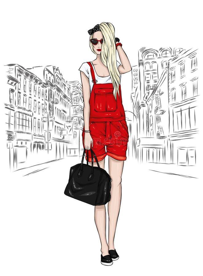 Menina delgada bonita no short dos macacões, vidros e com um saco Ilustração do vetor Cabelo longo Forma e estilo, olhar à moda ilustração royalty free