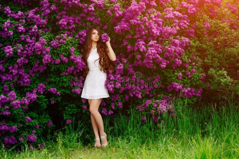 Menina delgada no levantamento branco do vestido foto de stock royalty free