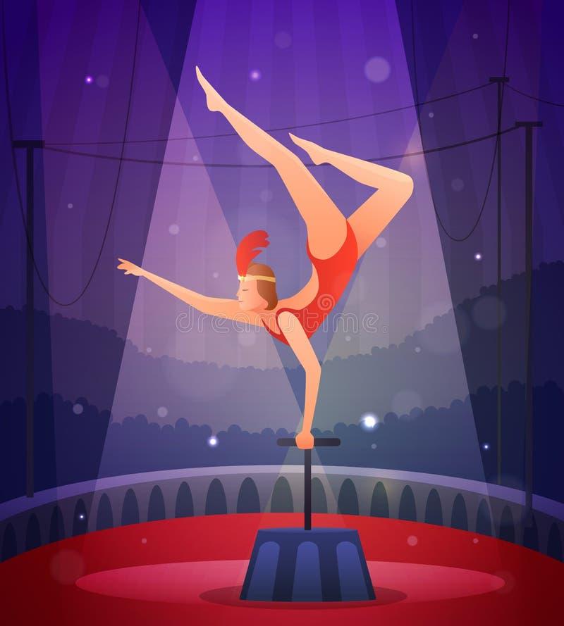 Menina delgada que executa o exercício acrobático ilustração stock