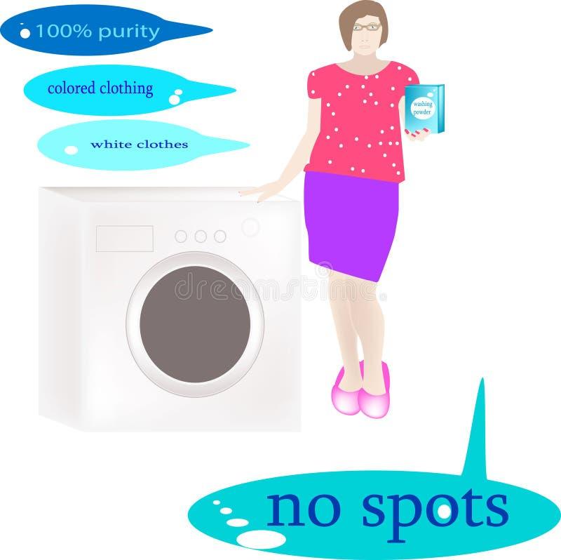 A menina demonstra o pó de lavagem para a roupa colorido e do branco perto da máquina de lavar imagens de stock