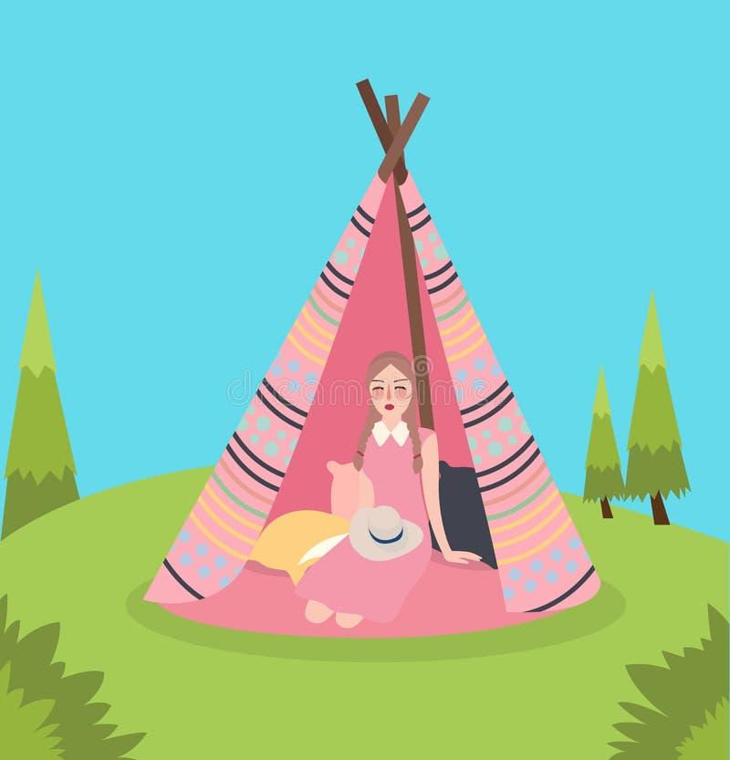 A menina dentro da barraca nativa tradicional de América da tenda que relaxa aprecia acampar na paisagem verde ilustração do vetor