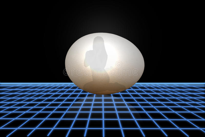 Menina dentro de um ovo ilustração stock