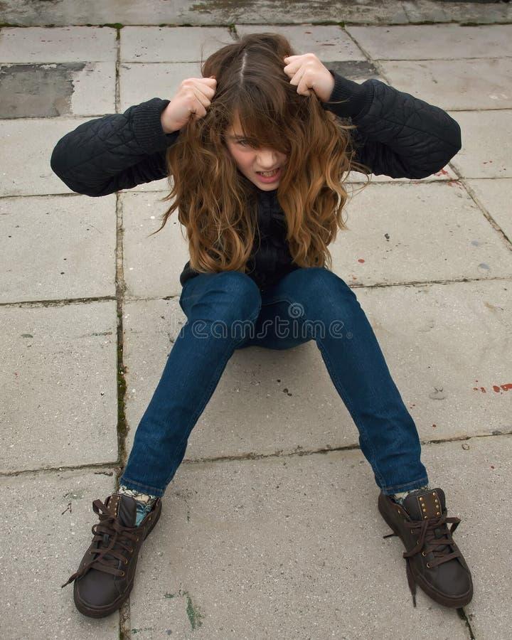 Menina desassossegado fotos de stock