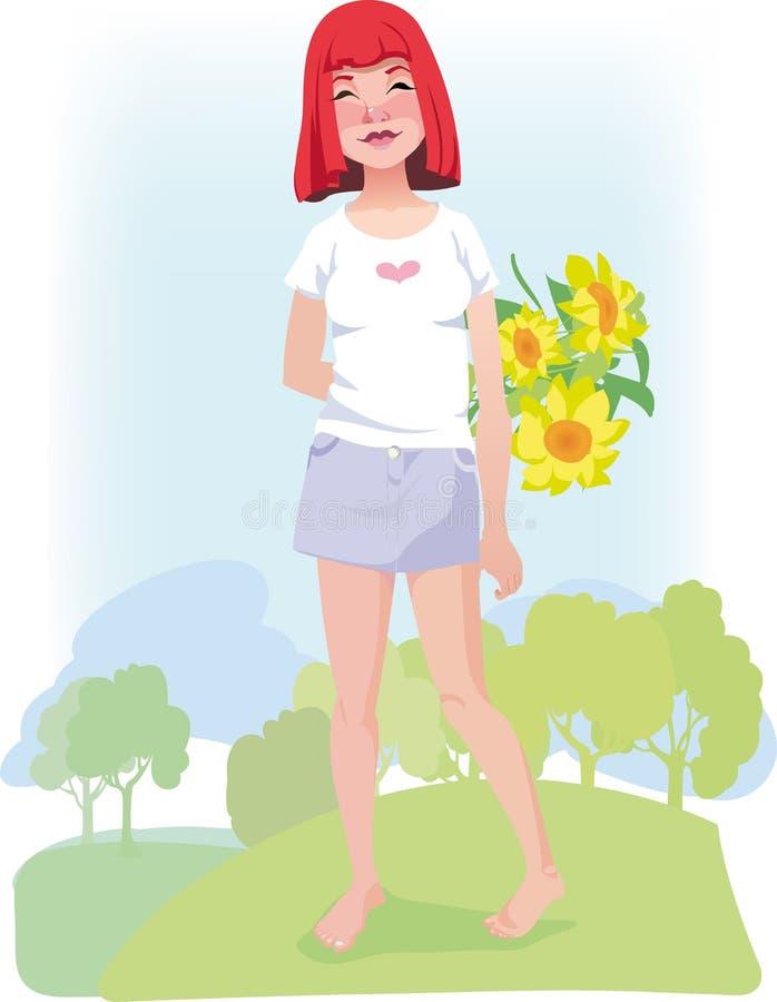 Menina descalça red-haired do verão com girassóis ilustração royalty free