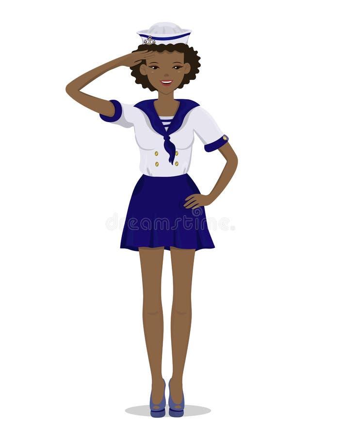 A menina descascada escura em um uniforme do marinheiro no crescimento completo Imagem do vetor isolada no fundo branco ilustração do vetor