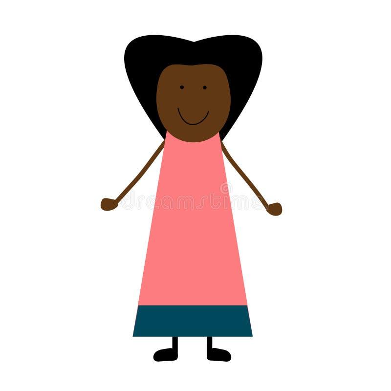 Menina desenhada mão ilustração do vetor