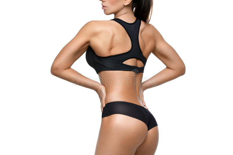Menina desportiva com músculos imagens de stock royalty free