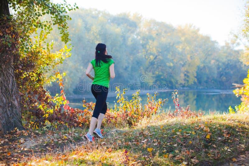 Menina desportiva que corre no caminho na floresta imagens de stock