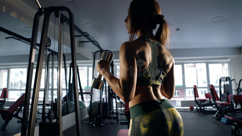 Menina desportiva que mostra seu corpo bem treinado e que levanta pesos foto de stock royalty free