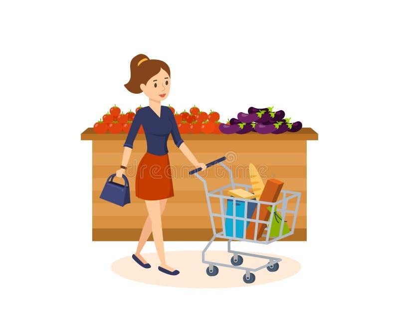 A menina disca produtos, faz uma compra na mercearia ilustração do vetor