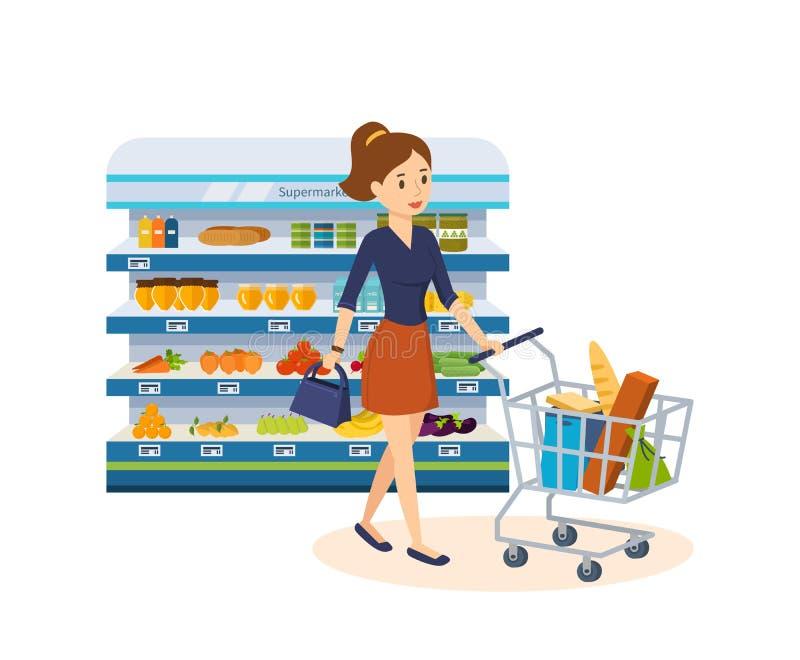 A menina disca produtos, faz uma compra na mercearia ilustração stock