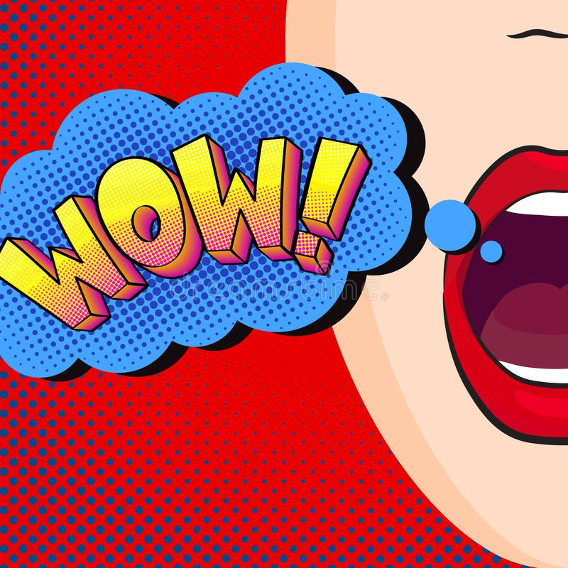 A menina diz o wow ilustração stock