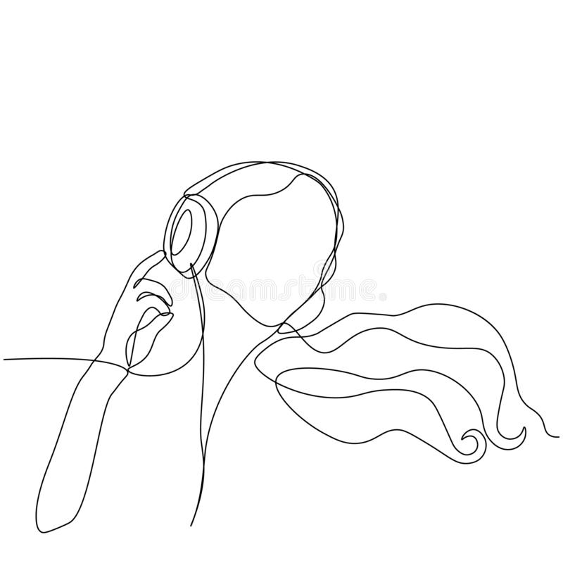 Menina DJ, tirada por uma linha contínua preta Menina que escuta a m?sica nos auscultadores Fundo branco ilustração royalty free