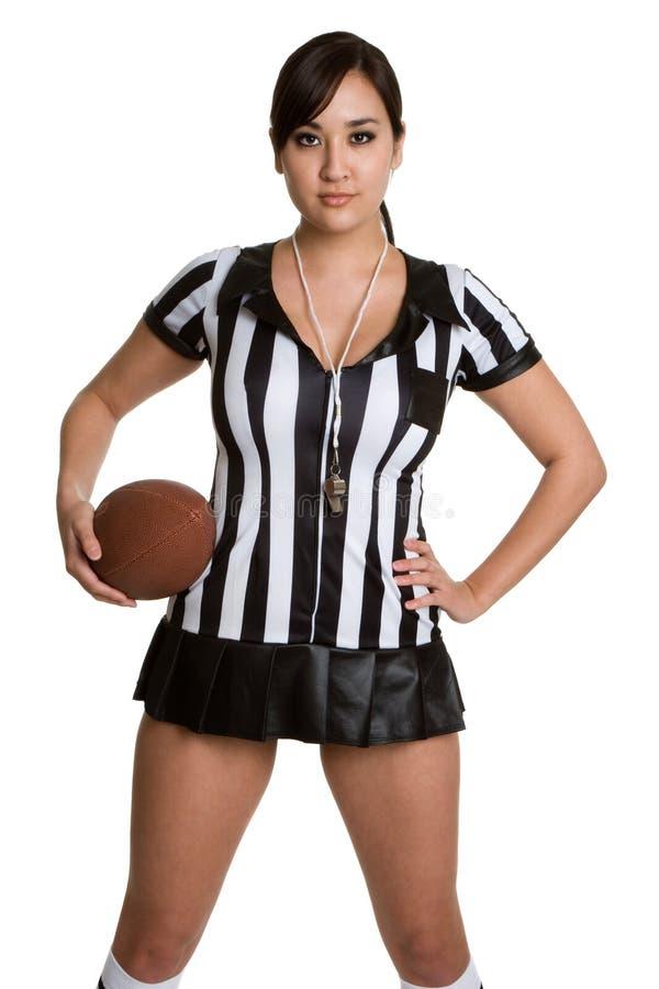 Menina do árbitro do futebol imagens de stock royalty free