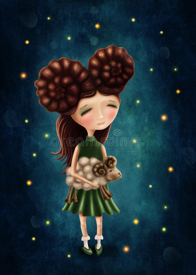 Menina do Áries ilustração royalty free